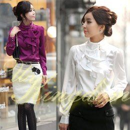 Wholesale Professional White Dresses - 2014 Autumn New Women Office Shirts Ladies OL Basic Top Blusas Blouse Dress Shirt Professional Occupation SV00555030