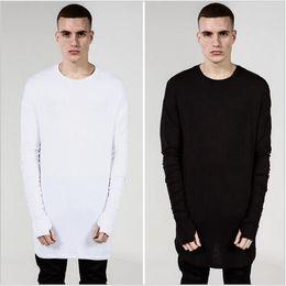 Wholesale White Sweatshirt Swag - Autumn Winter Men Wram Sweatshirts Fashion Broken Tee O-Neck Long Sleeve Arc Cut Mens Kanye West Swag Casual Extended Hoodies hight quality