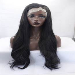 Wholesale hair front highlights - kabell Fashion wig lace front wigs OneDor 26 Inch Full Head Wavy Kanekalon Black Auburn Highlight Hair Wig Straight hair kabell