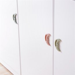 Wholesale Wholesale Drawer Handles - Moon Shape Doorknob Multicolor Multi Function Cupboard Wardrobe Drawer Cabinet Handle For Paste Type 0 5yl C R