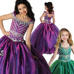 Wholesale Train Taffeta Flower Girl - New Beaded Rhinestones Girls Pageant Dresses Jewel Neckline Little Girl Ball Gowns Floor Length Pleated Flower Girl Dress