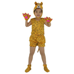 Wholesale Tiger Dress Costume - 2018 Summer Short Cartoon Animal Tiger Costume For Kids Boy Girl Cosplay Clothing Birthday Children's Day Party Dress Decor