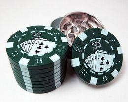 """Wholesale Chip Grinder - 1300popular Zinc alloy Poker Chip Herb Grinder 1.75"""" 3pc Grinder 3 Colors 3-layer Poker Herb Smoke Cigarette Grinder"""