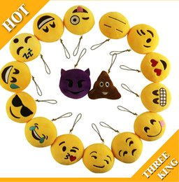 2019 sacs d'émotion Emoji Nouveau Porte-clés 8 cm Emoji Smiley Petit pendentif Emotion Jaune QQ Expression En Peluche Peluche poupée jouet pour Mobile sac pendentif livraison gratuite promotion sacs d'émotion