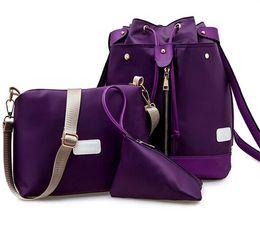 Wholesale Medium Waterproof Backpack - 2016 Multifunctional Waterproof nylon three piece backpack designer handbags lattice pattern of the canvas bag with PU square bag 4 colors