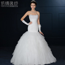 Discount sexy wedding dress tube - Tube top fish tail wedding dress 2015 spring and summer the bride plus size slim
