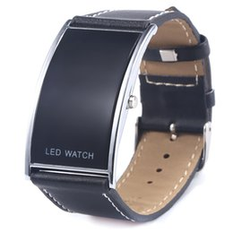 Wholesale Cool Digital Watches For Men - Cool Black Fashion LED Watch For Ladies Leather Bracelet Digital Wristwatches Women Boys Girls Unisex Luxury Brand Watch Men