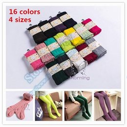 Wholesale Wholesale Childrens Tights Leggings - Top quality baby girls childrens pure cotton leggings tights 16 candy colors knitted Crochet 100% cotton long warm tights socks in one SK05