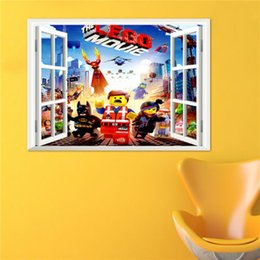 Wholesale Classic Movies Wallpaper - 3D Window View The Lego Movie Wall Art Decal Sticker Kids Boys Girls Room Decoration Wallpaper Mural Decor Home Decal Sticker