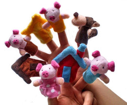 Wholesale Toy Pigs Wholesalers - 8 pcs   lot the three little pigs finger puppet children educational soft toy story plush puppet fairy X1518