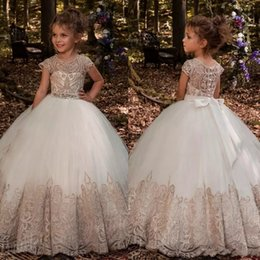 Wholesale Princess Gowns For Children - 2018 Cute Flower Girls Dresses For Weddings Crystal Sashes Illusion Lace Appliques Button Floor Length Birthday Children Girl Pageant Gowns