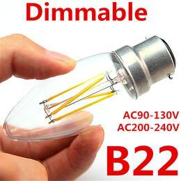 Wholesale 5w Led B22 Candle Bulb - 6PCS Led Candle Lamp B22 Dimmable AC110V 220V 3W 5W Filament Led Bulb White Warm Energy Saving Lights LED Candle Bulbs Lamps