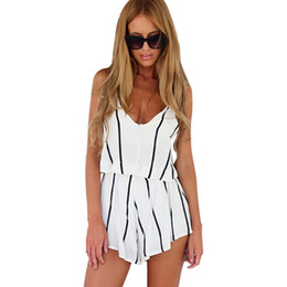 Wholesale Jumpsuits Playsuits For Women - Summer Jumpsuit Women Mono V Neck White Jumpsuit For Women Striped Rompers Sexy Playsuits Bodycon Jumpsuit Combishort B 2016