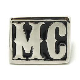 Wholesale Wholesale Silver Mens Wedding Rings - New 316L Stainless Steel Polishing Silver MC Motor Biker Ring Huge MC Mens Biker Ring