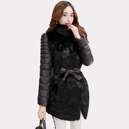 плюс размер черного кролика Скидка Новый черный серый кролик куртка пальто для женщин Slim-Fit стенд воротник пуховик дамы теплая зима пальто casaco плюс размер MGG1111