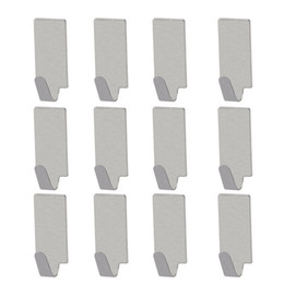 Wholesale Hanging Keys Wall - 12pcs Adhesive Stainless Steel Towel Hooks Family Robe Hanging Hooks Hats Bag Key Adhesive Wall Hanger for Kitchen Bathroom