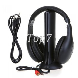 Wholesale Earphone Tv - Black 5 in 1 Wireless Cordless Headphone Headset Earphone for PC TV Radio Wireless Headphone Gaming Headphone Eletronic Hot