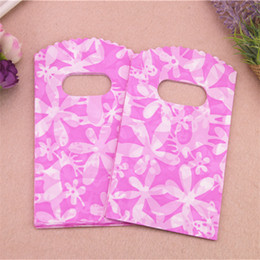 small plastic bags designs Promo Codes - Wholesale- Hot Sale New Design Good Quality Wholesale 50pcs lot 9*15cm Pink Sunflower Small Plastic New Year Gift Packaging Bags