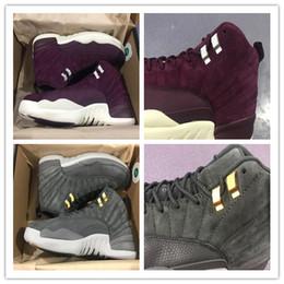 Wholesale Christmas Sail - 2017 12 BORDEAUX Wine Red Sail-Metallic Sliver Basketball Shoes Men Women 12s DARK GREY Wolf Grey Fashion Sports Sneakers
