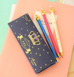 Wholesale Crown Pearl Pen - Wholesale-Fashion gift Lady cute Crown Ball Pen with pearl korean kawaii Princess Pens promotional stationery 50pc school office supplies