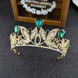 Wholesale Gold Tiara Red Rhinestones - New Style Luxury Gold Bridal Crown with Green Royal Blue Red Silver Crystal Wedding Tiara Hot Sell Headpieces Hair Accessory Free Shipping