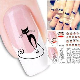 Wholesale Nails Cartoons - Cartoon Animal Flower 14 Themeds Nail Sticker Nail Water Transfer Decals 50pcs lot Free Shipping