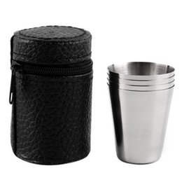 Wholesale Covered Tea Mugs - 1 Set of 4 Stainless Steel Cover Mug Camping Cup Mug Drinking Coffee Tea Beer With Case Ideal for Camping Holiday Picnic 3 Sizes
