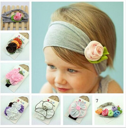 Wholesale Baby Headbands Diamond Rhinestones - Mix style flower cotton elastic headband for kids children BA474 Baby Rhinestone Headband Ribbon diamond Baby Girls Hand sewing Flowers H