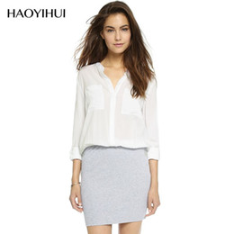 Wholesale Clothes For Sale China - HAOYIHUI Long Sleeve Woman Shirts Elegant Blouse Morden Shirt For Office Lady Hot Sale Clothing From China Y5120370