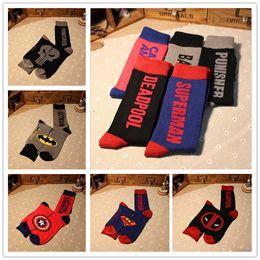 Wholesale Superman Sport Dhl - Free DHL Hot Mens socks Sports Sock Cotton socks Batman Socks Superman socks Super Hero socks For Men Stockings LA126-8