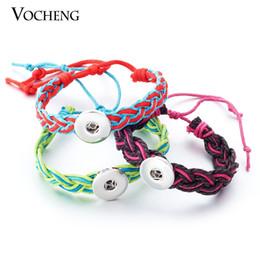 Wholesale Wholesale Brass Chain Bracelets - NOOSA Ginger Snap Bracelet 18mm Weave Rope Chain Popper Charm Bracelet NN-237
