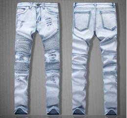 Wholesale Jeans Elastic Foot - BIKER JEANS locomotive fold foot hole elastic JEANS men cultivate one's morality pants pants junior high street