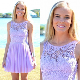 Wholesale Cheap Bridesmaids Dresses China - 2018 Lavender Lace And Chiffon Short Beach Country Bridesmaid Dresses Cheap Crew Ruched Wedding Party Dress Custom Made From China EN11251