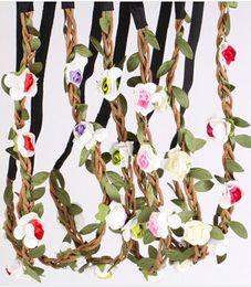 Wholesale Wedding Crown Color - 10pcs Bride Bohemian Style Flower Headband Festival Party Wedding Floral Garland Headband Flower Crown Headwear
