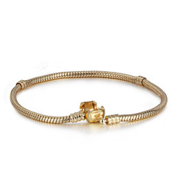 Wholesale Gold Snake Bracelet European - Wholesale 14K Gold Plated Charm Bracelet S925 Silver-Plated Bangle Fits European Charms Beads 17-24CM Length Fashion DIY Jewelry