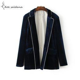 Wholesale Ladies Velvet Short Jackets - Zoe Saldana 2017 Velvet Blazer for Women Autumn Long Sleeve Suits Elegant Lady Pockets Blazers Basic Jackets Outwear