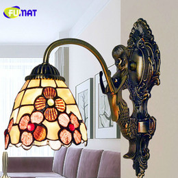 Wholesale Single Headed Peonies - FUMAT Mermaid Wall Lamps 5 Inch Peony Wall Light Single Head Art Shell Sconce LED Mirror Light Bedroom Bedside Wall Lamp