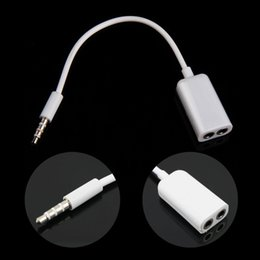 Wholesale Headphone Splitter Cable - Black White Universal 3.5mm 1 Male to 2 Female Audio Headphone Splitter Adpater Cable by Brothers-cn