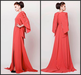 Wholesale jewel kaftan - 2018 New Middle East Women Formal Evening Dresses with Cape Crew A-line Court Train Coral Arabic Kaftan Side Slit Robe De Soiree Embroidery