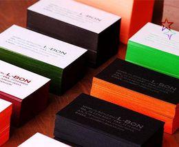 Bord De Couleur Elegante Papier Coton Qualite Embosse Cartes Dappel Impression Visite Typographie