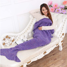 Wholesale Kids Sleeping Bag New - Mermaid Baby Blankets Mermaid Tail Knitted Blanket Kids Handmade Crochet Blanket Throw Bed Wrap Sofa Sleeping Bag Baby Quit Carpet New