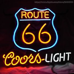 "Wholesale Route 66 Neon - Route 66 Coors Light Beer Bar Open Neon Signs Handcrafted Custom Real Glass Tuble Store Disco Club Pub Advertising Display Sign 17""X14"""