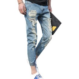 Wholesale Blue Skinny Jeans For Men - Wholesale-2016 Skinny Jeans Mens Personality Rock Style Jean Pant Casual Jeans Distressed Calca Jeans Denim Pants Joggers For Men LQ195