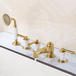 Wholesale Oil Rubbed Bath Faucets - 2015 Wholesale Patent Design Luxurious Solid Brass Roman Tub Trim Filler 5 hole Bath Shower Mixer Tap with hand shower
