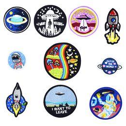 costurar manchas de estrelas Desconto 10 PCS Astrospace Patches Sacos de Roupas de Ferro em Apliques de Transferência de Applique Star para Casaco Jaqueta DIY Costurar Emblema Do Bordado