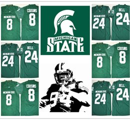 Wholesale New Bell - 2018 NEW COMING Michigan State Spartans NCAA Jersey Kirk Cousins 8 Le'Veon Bell 24 GIFT PRESENT College jerseys Hot sale SPORT