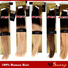 XCSUNNY 100g Bant Saç Uzantıları Ombre Yapıştırıcı Uzatma Hint Remy Saç Uzantıları Cilt Atkı Saç Uzantıları cheap indian remy tape hair extensions nereden hint remy teyp saç uzantıları tedarikçiler