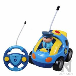 Wholesale Green Police Car Light - Zorn Store-Cartoon R C Police Car Radio Control Toy With light and sound Mini steering wheel remote control car for Toddlers