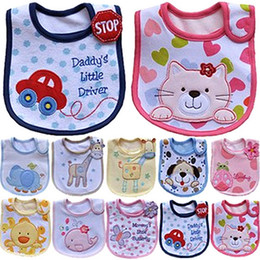 Wholesale Kids Pink Aprons - Infant saliva towels 3-layer Baby Waterproof bibs Baby wear accessories kids cotton apron handkerchief children animal bib NO.82-NO.91