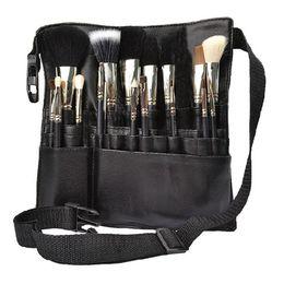 Wholesale Apron Women - Black Professional Cosmetic Makeup Brush Apron Bag Artist Belt Strap Holder Protable Make Up Bag Women Cosmetic Brush Bags Rd602229